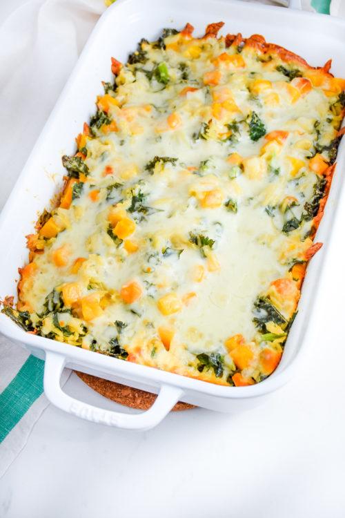 Kale Orzo and Butternut Squash Casserole