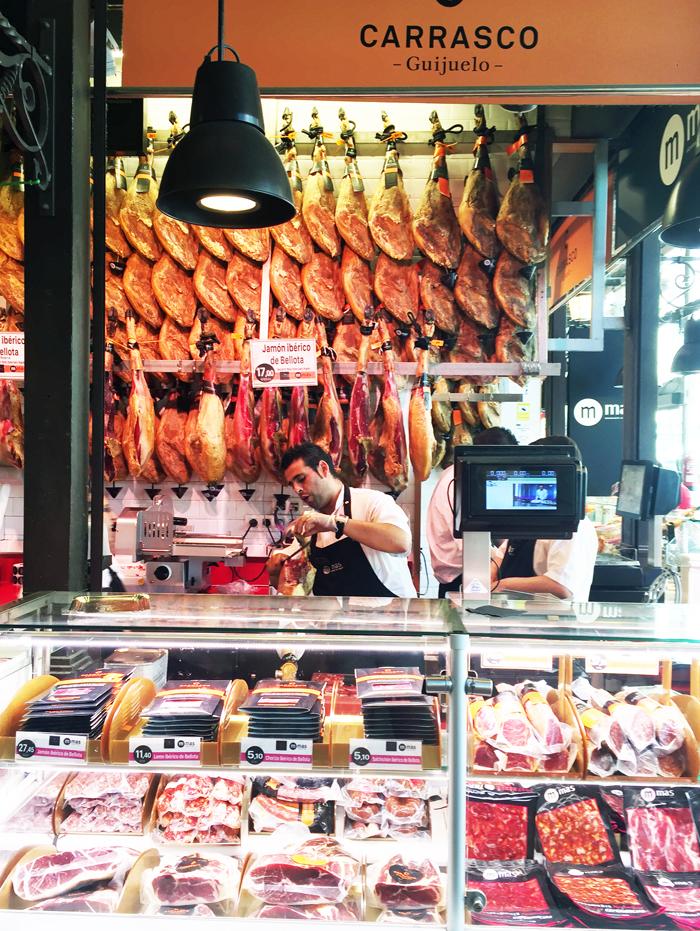 Jamon at Mercado de San Miguel Food Market in Madrid Spain_Natalie Paramore
