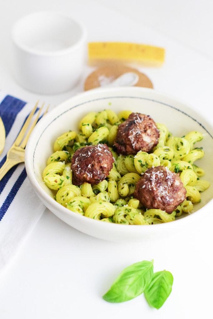 Venison Meatballs with Pesto Pasta_Natalie Paramore